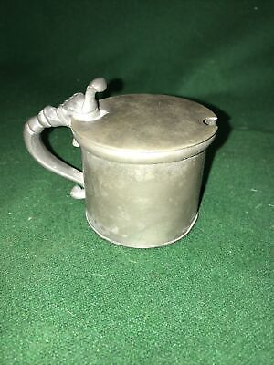 Antique Early Victorian (1845) James Dixon & Sons Pewter Mustard Pot • 12£