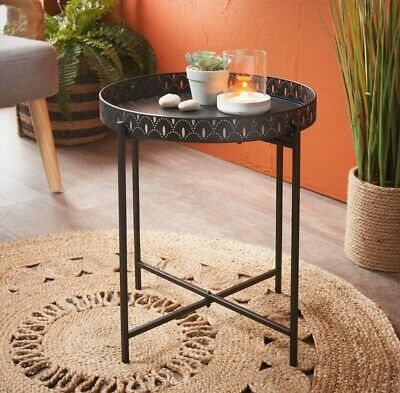 £22.90 • Buy NEW Black Metal Side Coffee Tray Table With Removable Top Living Room  Load 10KG