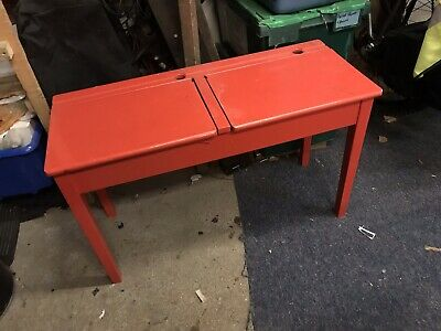 Old School Desk Double Wooden Childs Vintage Upcycle Home Schooling • 26£