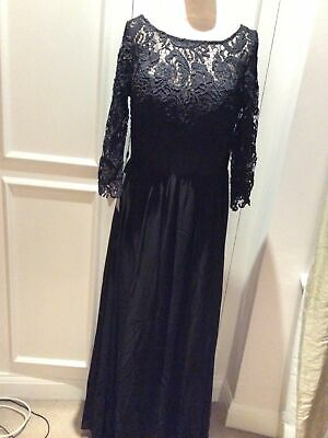 Ever❤️pretty Long Black Lace Top Dress. Size 16. Fully Lined • 8£