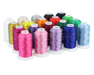 $25.99 • Buy Embroidery Machine Thread Set - 20 Colors - 1100 Yard Spools - Polyester Thread