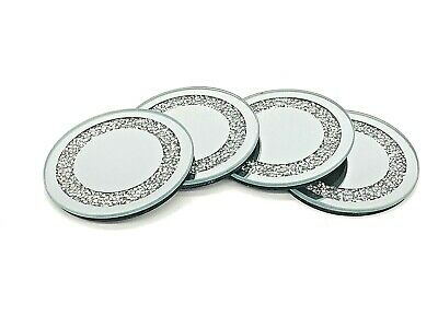 Set Of 4 Crushed Crystal Diamond Filled Glass Coaster Candle Plate Round • 13.99£