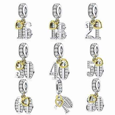 AU26.50 • Buy Happy Birthday (Age) S925 Sterling Silver Charms By Charm Heaven 13 16 18 21 50