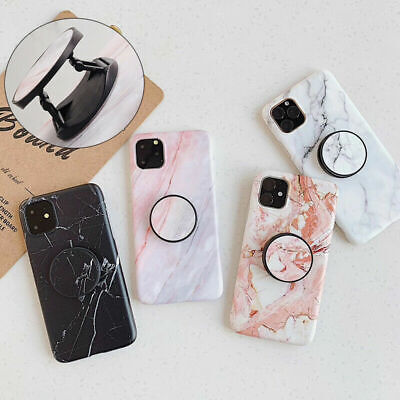For IPhone 12 12Pro XR XS Max 6s 7 Plus Marble Phone Back Case Cover With Holder • 1.99£