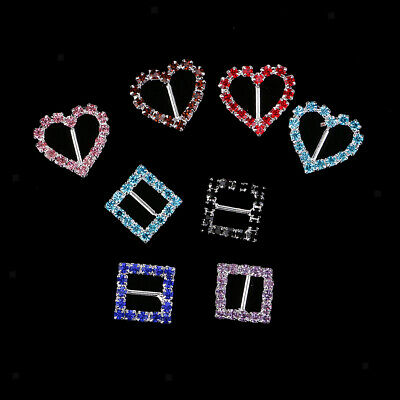 8x Square Heart Crystal Ribbon Buckles Sliders For Wedding Party Invitation • 3.66£