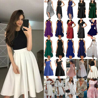 AU23.65 • Buy Women Swing Skater A-Line Dress Evening Party Wedding Cocktail Prom Ball Gown