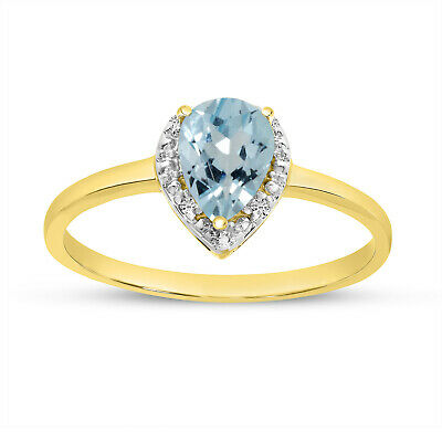 AU657.60 • Buy 14k Yellow Gold Pear Aquamarine And Diamond Ring