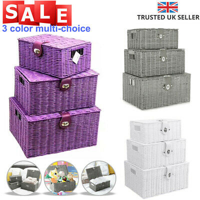 SET OF 3 Storage Baskets Resin Wicker Woven Hamper Box Lid & Lock Stackable UK • 21.35£
