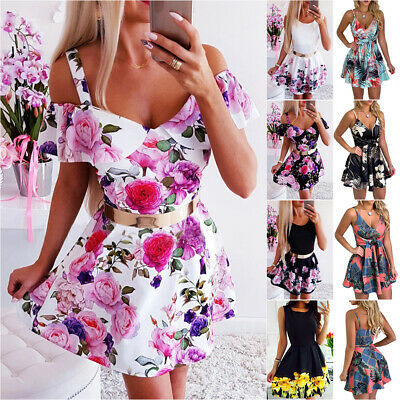 AU21.19 • Buy Women Floral Strappy Dresses Summer Casual Party Swing Skater Mini Short Dress