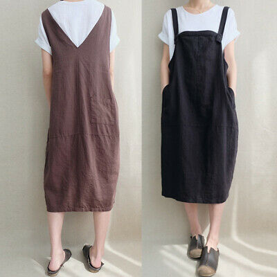 AU16.14 • Buy AU STOCK ZANZEA Women Midi Sundress Dungarees Skirt Bib Overalls Pinafores Dress