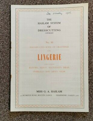 HASLAM SYSTEM OF DRESSCUTTING. BOOK OF DRAFTINGS LINGERIE No 10 • 12.99£
