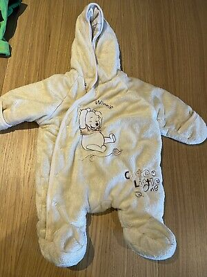 Baby Snowsuit With Hood, Winnie The Pooh Design From Disney 0-3 Months • 1.25£