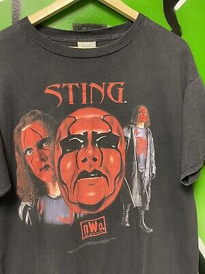 $ CDN156.65 • Buy WCW 1998 Vintage Sting NWO Red Face RAP Tee Wrestling T-Shirt Sz L Great Fade