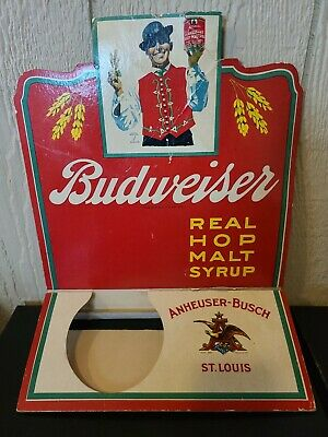 $ CDN127.16 • Buy RARE Vintage Budweiser Barley Malt Syrup Easel Back Cardboard Sign Display