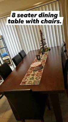 AU250 • Buy 8 Seater Timber/wooden Dining Table With Faux Leather Chairs