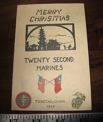 $10.50 • Buy WW2 USMC 22nd Marines Tsingtao China Marine Christmas Card 1945 6th Division