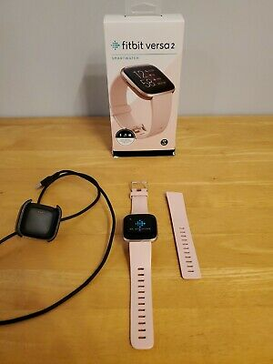 $ CDN75.03 • Buy Fitbit Versa 2 Rose Gold And Peach Band. W/ Charger, Box, Small & Large Bands