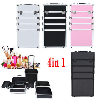 $98.69 • Buy 4 In 1 Pro Aluminum Rolling Makeup Case Salon Cosmetic Organizer Trolley 4 Color