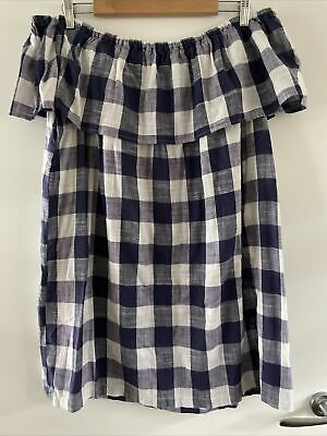 AU12.50 • Buy ASOS Blue And White Check Off-the-shoulder Dress (14)