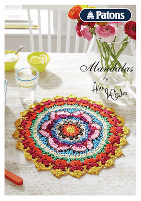 Mandala Crochet Pattern Book By Patons- Lace Crocheted Mandalas Table Mats Doily • 0.99£