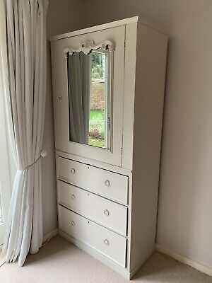 Antique Farrow And Ball Painted Mirrored Armoire Wardrobe • 32£