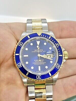 $ CDN17672.85 • Buy Excellent Blue Rolex Submariner 16613 Two Tone 18K Gold & S/Steel Box & Papers