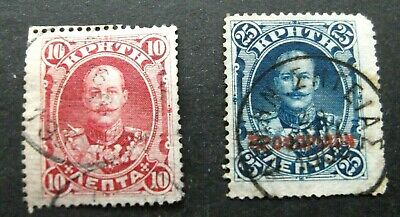 Crete-1900-10 & 25L Issues-Used • 1.18£
