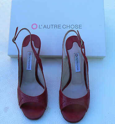 Pair Of Size 4 Italian L'Autre Chose Red Leather Sling Back Peep Toe Sandals • 4.99£