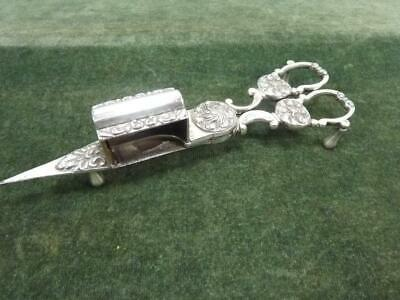 Nice Pair Antique Victorian Gilbert Silver Plated Candle Wick Trimmers Snuffer • 29.99£