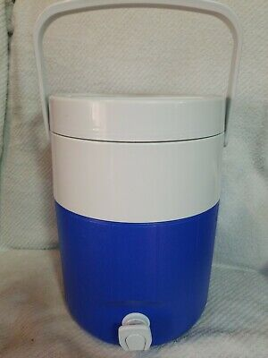 $19.95 • Buy Coleman 2 Spout Polylite 2 Gallon Water Cooler Jug Blue  & White *Brand New  !