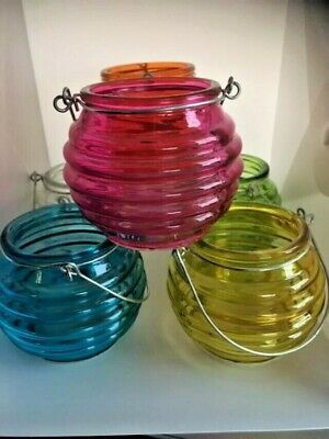£4.99 • Buy Round Glass Tea Light Holders Hanging Candle Lanterns Choose Colour Or Set Of 6