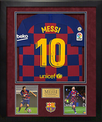 AU3229.13 • Buy Lionel Messi Signed Autographed Barcelona Jersey Custom Framed To 32x40 Icons