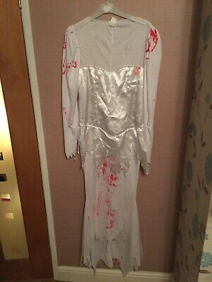 Womens Zombie Bride Fancy Dress Costume Size 8/10 • 15£