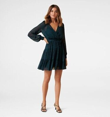 AU40 • Buy Forever New Zara Raglan Tiered Mini Dress Navy Women Size 8 BNWT