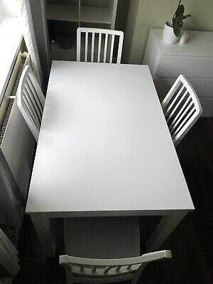 IKEA LANEBERG/EKEDALEN White Extendable Dining Table And 4 Chairs. • 250£