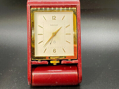 AU696.37 • Buy Jaeger LeCoultre 8 Day Travel Clock Burgundy Leather Case Works Great Vintage