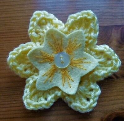 £3.50 • Buy CROCHET FLOWER CORSAGE BROOCH – Hand Crafted -Yellow + Yellow Felt +button