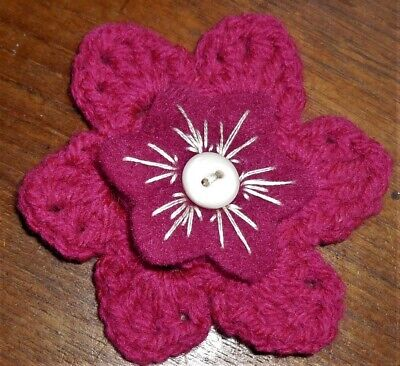 £3.50 • Buy CROCHET FLOWER CORSAGE BROOCH – Hand Crafted Cerise Pink + Pink Felt +button
