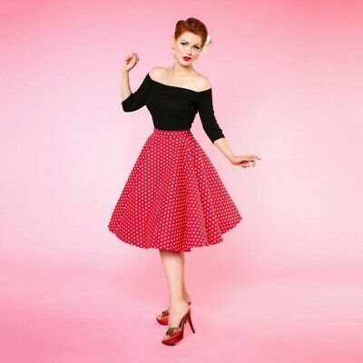 Dolly And Dotty Polka Dot High Waist Skirt Red White UK Size 18 BNWT • 7£