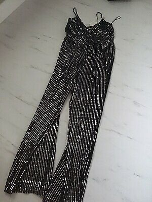 Lipsy Black And Silver Sequin Jumpsuit Size 14-16 BNWT • 10£