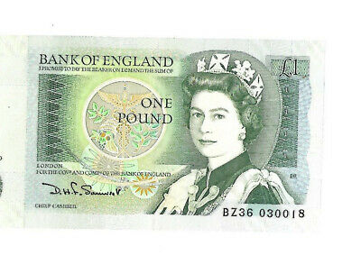 Bank Of England Old One Pound Note BZ36 • 0.39£