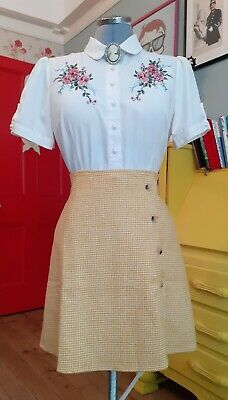 £40 • Buy Miss Patina Yellow Dog Tooth Check Button Skirt Size Large BNWT