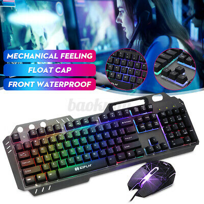 AU28.88 • Buy Gaming 6D Mechanical Keyboard And Mouse Combo Wired Set Rainbow LED Backlit 2021