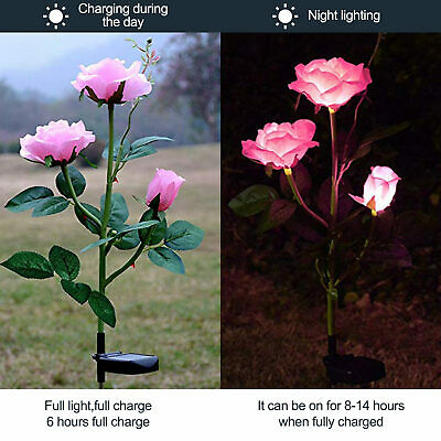 5 LED Solar Power Rose Flower Stake Lights Outdoor Garden Path Luminous Lamps UK • 11.99£