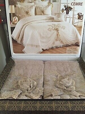 Double Cotton Bedspread Set With Lace And Roses,bed Cover,pillowcases • 280£