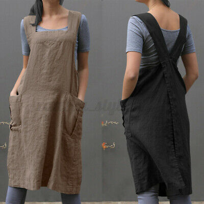 AU18.04 • Buy AU STOCK Women Square Neck Pockets Dungarees Pinafores Dress Cook Chef Aprons