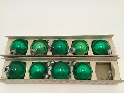 $ CDN17.65 • Buy  Vintage SHINY BRIGHT Glass Christmas Tree Ornaments Balls 9 In Boxes Green 1.75
