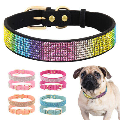 £5.89 • Buy Crystal Dog Collars Fancy Small Bling Rhinestone Leather Dog Collar Cat Necklace