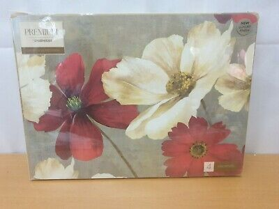 £18.99 • Buy Set Of 4 FLOWER STUDY Premium Large CORK-BACKED PLACEMATS