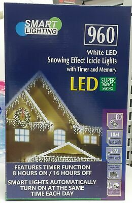 Smart LIGHTING 960 White LED SNOWING EFFECT ICICLE LIGHTS • 49.99£